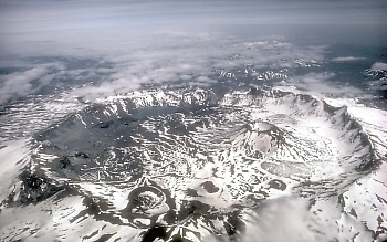 Aerial view of Aniakchak Caldera, Alaska; view toward east
