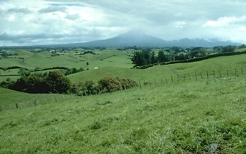 View of landslide hummmocks, Mount Taranaki (or Mount Egmont), New Zealand