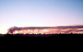 Eruption cloud is blown away from Pu`u `O`o vent, Kilauea Volcano, Hawai`i