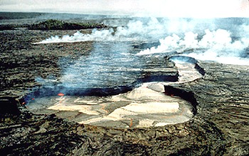 Lava lake at Kupaianaha vent, Kilauea Volcano, Hawai`i