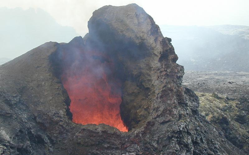 spatter cone on pu u o o vent kilauea volcano hawai i