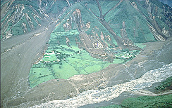 R?o Paez and town of Irlanda swept by lahar on June 6, 1994