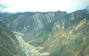Landslide scars on hillslopes above Río Paez, near Huila Volcano, Colombia