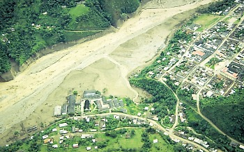 Town of Belalcazar, largest community hit by lahar in R?o Paez, Colombia