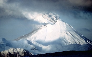 Kanaga Volcano erupting a small eruption column, Alaska