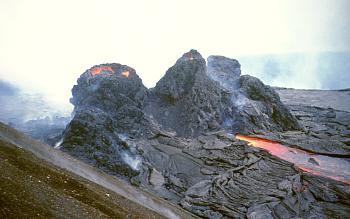 Spatter cones on flank of Pu`u `O`o vent, Kilauea Volcano, Hawai`i