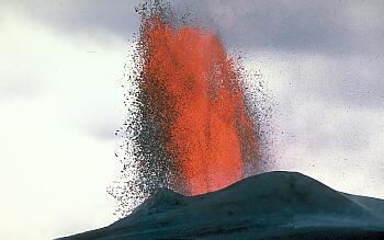 Lava fountain at Pu`u` `O`o vent on Kilauea Volcano, Hawai`i