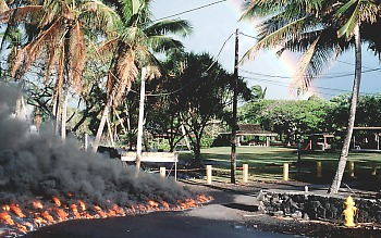 Lava moves into Kalapana, Hawaii in 1990