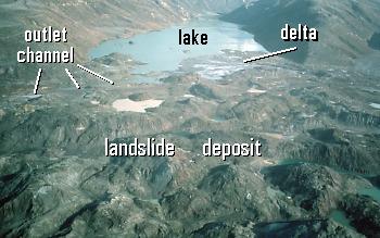 Coldwater Lake, blocked by landslide deposit, Mount St. Helens, Washington