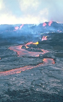 Lava flow erupted during the 1984 eruption of Mauna Loa, Hawai`i