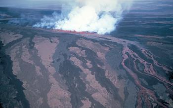`A`a lava flows pour down Mauna Loa Volcano, Hawai`i