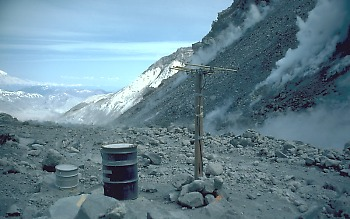 Tiltmeter site at base of dome (note steam on flank of dome on right), Mount St. Helens