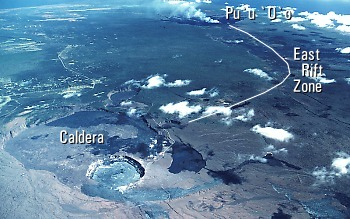 Aerial view of Kilauea Volcano's summit caldera and east rift zone