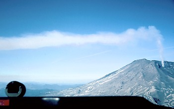 View of gas plume emitted by Mount St. Helens from inside an airplane during a COSPEC flight