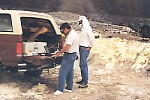 FTIR in vehicle next to fumaroles on Halema`uma`u crater, Kilauea Volcano, Hawai`i
