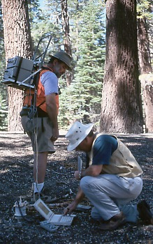 Scientists measuring carbon dioxide gas flux in soil, Mammoth Mountain, California