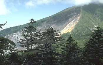 Landslide scar on side of Mt. Ontake, Japan