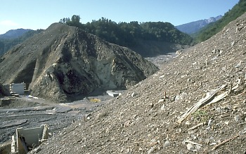 Hillslopes scoured by landslide, Mt. Ontake, Japan