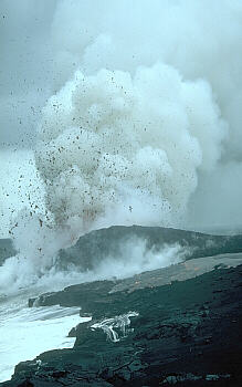Steam explosion blasts lava fragments onto sea cliff, building a littoral cone