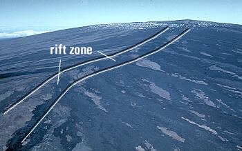 Photo: aerial view of the northeast rift zone of Mauna Loa Volcano, Hawai`i
