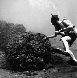Diver next to pillow lava
