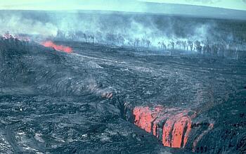 Eruptive fissure and drainback, Kilauea Volcano, Hawai`i