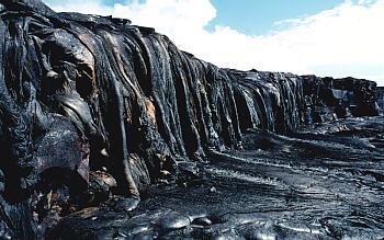Lava drapery along shoreline of Kilauea Volcano, Hawai`i