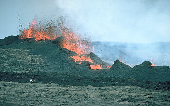 Spatter rampart built by lava fountains, Mauna Loa Volcano, Hawai`i