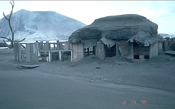 House destroyed by ashfall, Rabaul Caldera, Papua New Guinea
