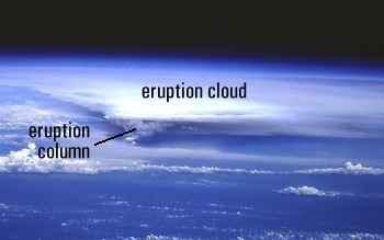 Space Shuttle view of eruption column and cloud from Rabaul Caldera, Papua New Guinea