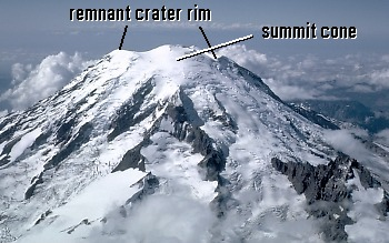 Aerial view of east flank and summit of Mount Rainier volcano, Washington