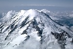 Aerial view of the east flank and summit of Mount Rainier, Washington