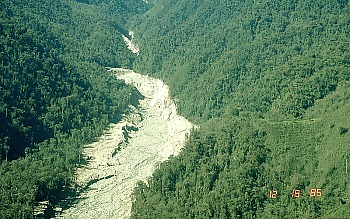 Erosion scar marks lahar pathway in Guali River valley, Nevado del Ruiz, Colombia