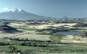 View of landslide hummmocks, Mount Shasta, California