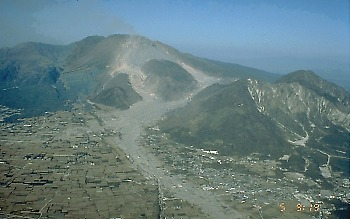 Unzen lava dome and Mizunashi River Valley