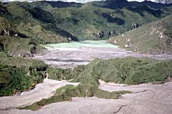 Lake formed by lahar deposits along Pasig-Portrero River, Philippines