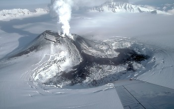 Cinder cone erupting within Mount Veniaminof, Alaska