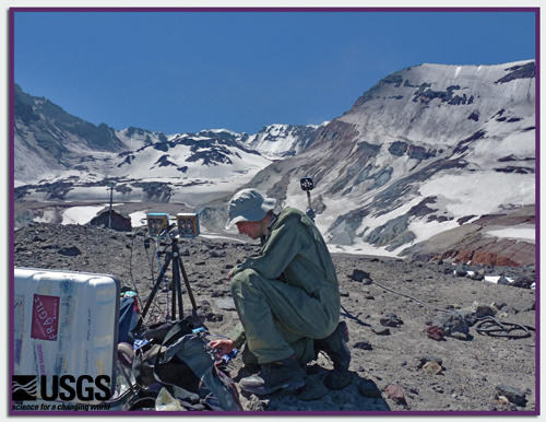 Collecting Volcanic Gas Samples on Mount St. Helens, Washington