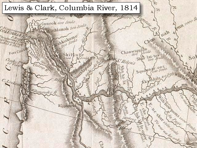 The Volcanoes Of Lewis And Clark The Columbia River And - Us map 1814