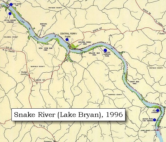 Map 1996 Recreation Sites Along Lake Bryan Including Little Goose Dam
