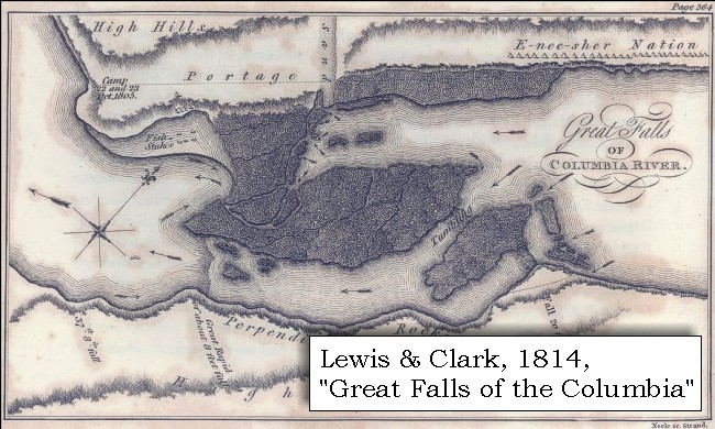 Map 1814 Great Falls Of The Columbia Click To Enlarge