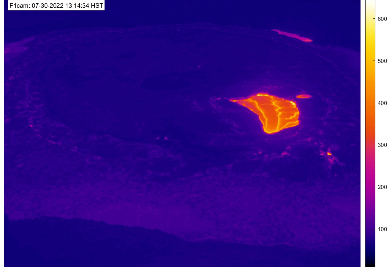 Thermal image of Halemaʻumaʻu and lava lake [F1cam] preview image