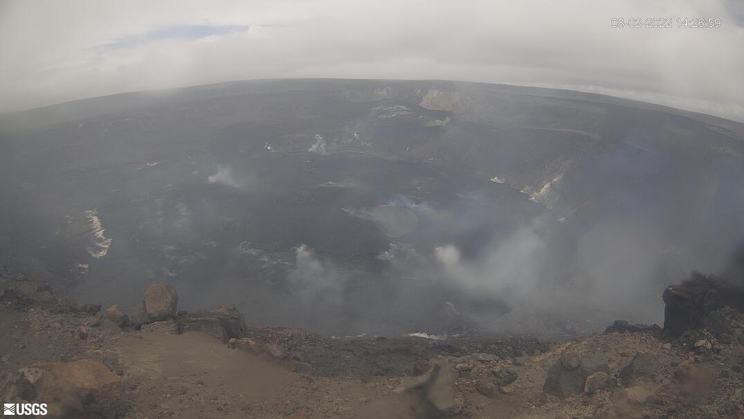 Halemaʻumaʻu, lava lake, and down-dropped block [KWcam] preview image