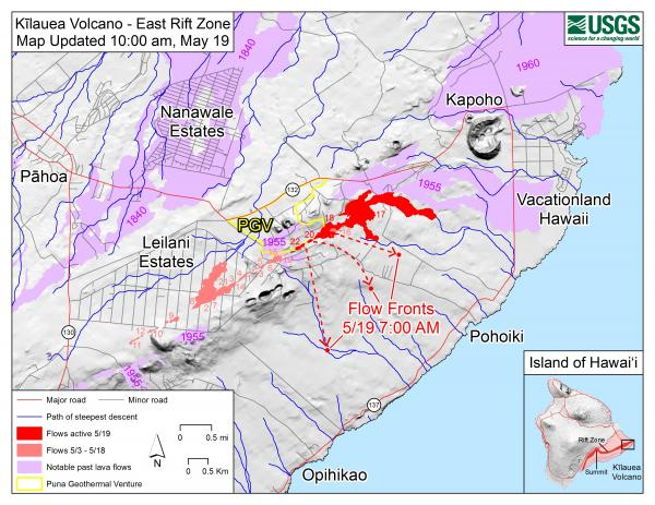 USGS Map: Kīlauea Lower East Rift Zone Fissures and Flows