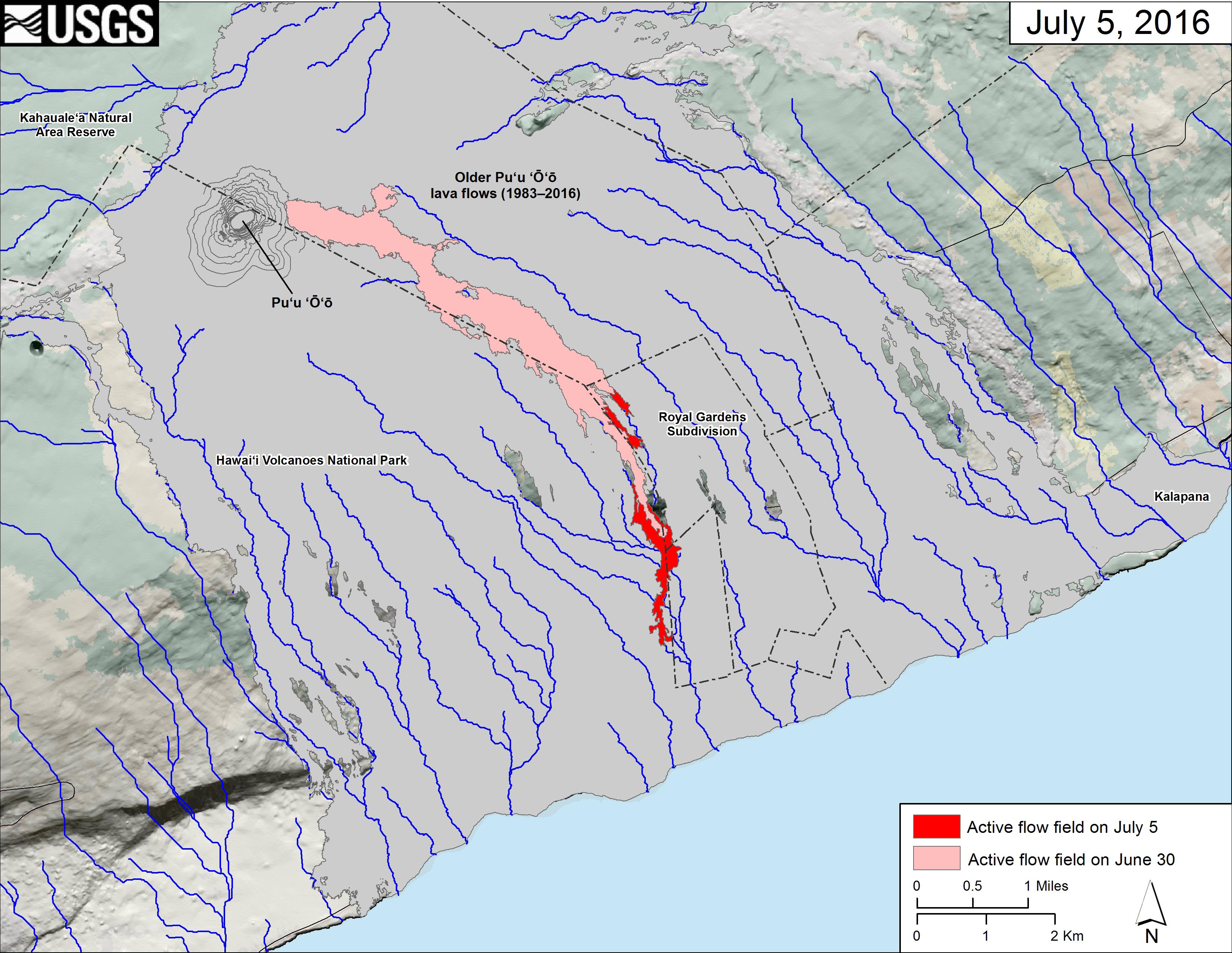 Volcano Topographic Map.Usgs Volcano Hazards Program Hvo Kilauea