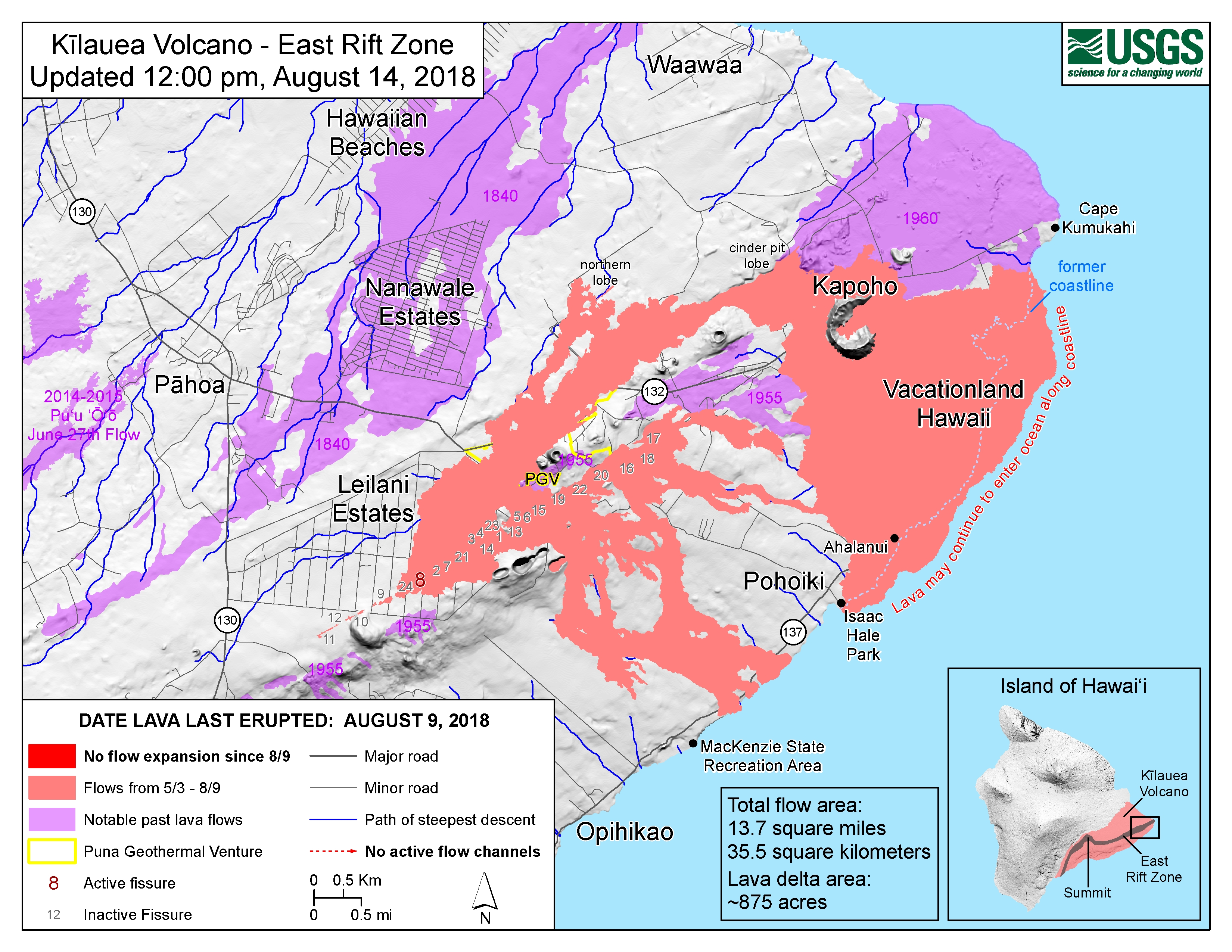 Hawaii Map Lava.Usgs Volcano Hazards Program Hvo Kilauea