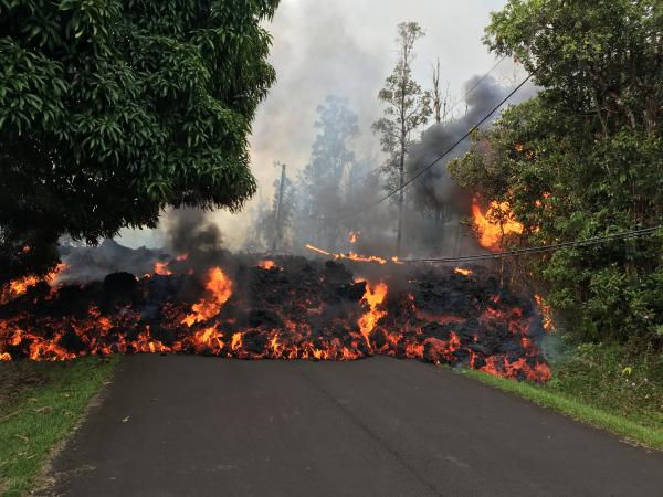 Lava moving along street