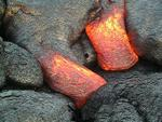 Two converging toes, also shown in stills for this day, Kilauea volcano, Hawai`i