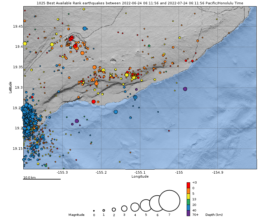 Earthquake Hypocenters Map - Past Month - Kilauea