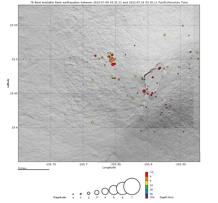 Earthquake Hypocenters Map - Past Week Mauna Loa